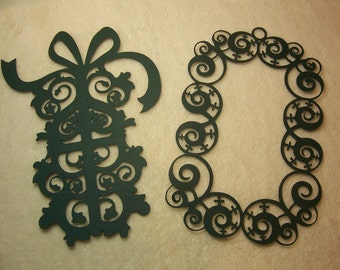 Scrapbook Die Cut...2 Piece Set of Very Lovely and Intricate Christmas Present and Frame Paper Die Cut Scrapbooking Embellishment