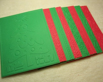 Scrapbook Mats...8 Piece Set of Very Merry and Bright Christmas Themed Embossed Scrapbook Photo Mats or Card Fronts