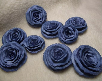 Scrapbook Flowers...9 Piece Set of Very Lovely Shabby Chic Faded Jeans Scrapbook Paper Flower Rolled Roses
