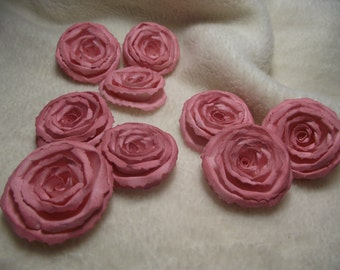 Scrapbook Flowers...9 Piece Set of Very Pretty Shabby Chic Blush Pink Scrapbook Paper Flower Rolled Roses