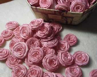 Handmade Wedding Paper Flowers...200 Piece Set of Custom Made Very Pretty Shabby Chic Scrapbook Paper Flower Rolled Roses