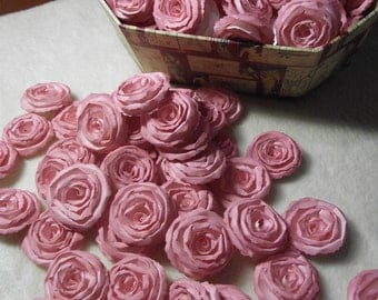 Wedding Paper Flowers...200 Piece Set of Custom Made Very Pretty Shabby Chic Scrapbook Paper Flower Rolled Roses