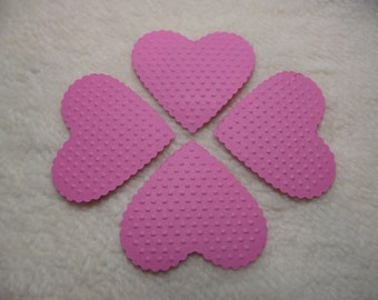 Embossed Paper Hearts...12 Piece Set of Very Pretty Tickle Me Pink Embossed Paper Hearts Scrapbook Embellishments