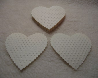 Embossed Paper Hearts...12 Piece Set of Very Beautiful French Vanilla Embossed Paper Hearts Scrapbook Embellishments