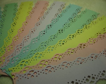 Scrapbook Borders...15 Piece Set of Very Pretty Spring Colours Swirling Lace Scrapbook Border Embellishments