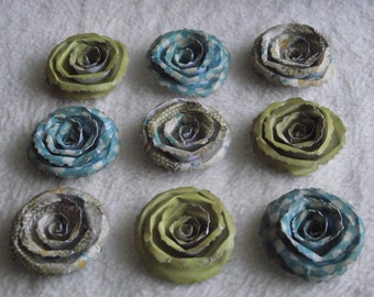 Scrapbook Paper Flowers...9 Piece Set Very Pretty Shabby Chic Alla-Prima Scrapbook Rolled Paper Flower Roses