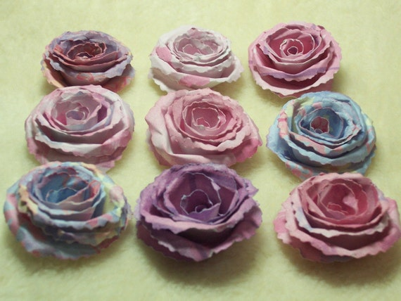 Scrapbook Paper Flowers...9 Piece Set Very Pretty and Dainty Scrapbook Rolled Paper Flower Roses