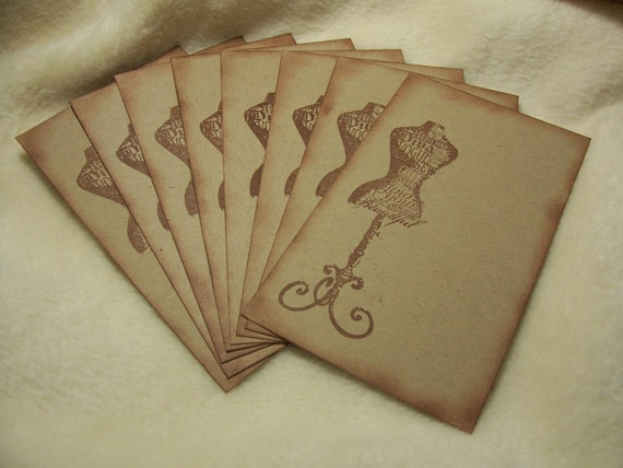 8 Piece Set of Very Fashionable Dress Form Vintage Inspired Scrapbooking Image Tags