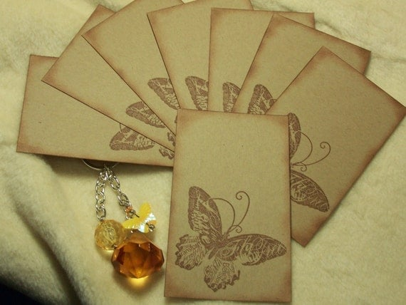 8 Piece Set of Very Pretty Butterfly Vintage Inspired Scrapbooking Image Tags