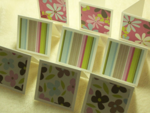 9 Piece Set of So Adorable Floral and Stripes Mini Note Cards