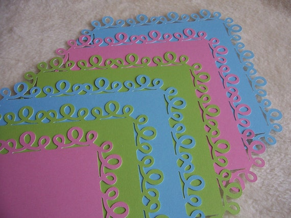 6 Piece Set of Very Pretty Whimsical Celebration Loops Border Scrapbook Photo Mats