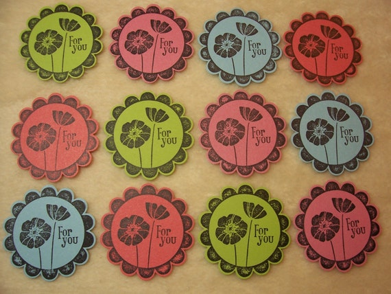 For You Tags...12 Piece Set of Very Cute For You Floral Round Scallop Tags