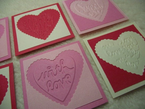 Scrapbook Tags...8 Piece Set of Very Sweet and Sassy Hearts with Sentiments Embossed Scrapbooking Tags