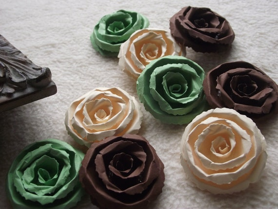 Scrapbook Paper Flowers...9 Piece Set Very Lovely Shabby Chic Apple Chocolate and Ivory Scrapbook Rolled Paper Flower Roses