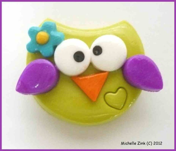 Polymer Clay Bead or Bow Center Funky Owl in Wasabi & Purple