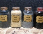 RESERVED for sckelli - Custom size Halloween potion ingredient bottle set for your Witch or Wizard scene