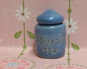 miniature blue canister of forkroot tea - Wheel of Time jar for dollhouse or curio