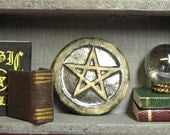 dollhouse miniature pentagram art plate or pagan garden stepping stone 1:12 scale one inch ceramic pentacle