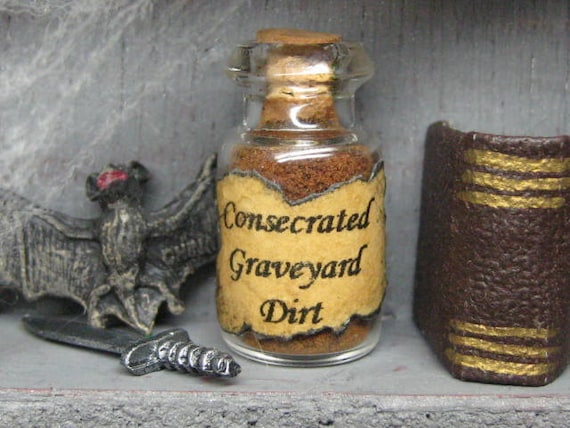 dollhouse miniature potion ingredient bottle for your witch or wizard cupboard halloween jar graveyard dirt