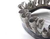 Gaping Maw statement art necklace . quirky industrial raw salvage primitive silver grey metal avant garde found object . ooak bib necklace
