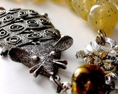 Pestilence gothic assemblage neckpiece . vintage signed mid-century modern pendant . bubonic plague industrial apocalyptic statement ooak