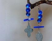 Lourdes Sanctuary - gorgeous cobalt jeweled dangles