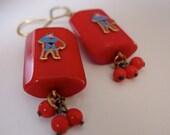 Super Hero earrings . vintage 70s Superman, chunky geometric antique 40s Bakelite iconic kitsch . fun gift in cobalt blue or red