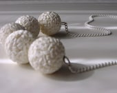 Purity necklace . vintage modernist white moon globes