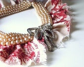 Petit Trianon - red toile provencal salvage neckpiece ooak