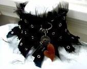 Moody Chatelaine - black bandage ripped shredded metal harness vampire goth edgy ooak severe statement stiff neckpiece