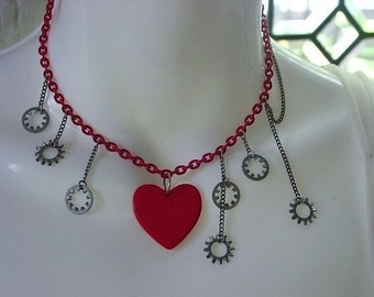 Rendering the Tin Man Tender necklace . steampunk hardware fairytale assemblage . quirky poetic gift under 40 dollars