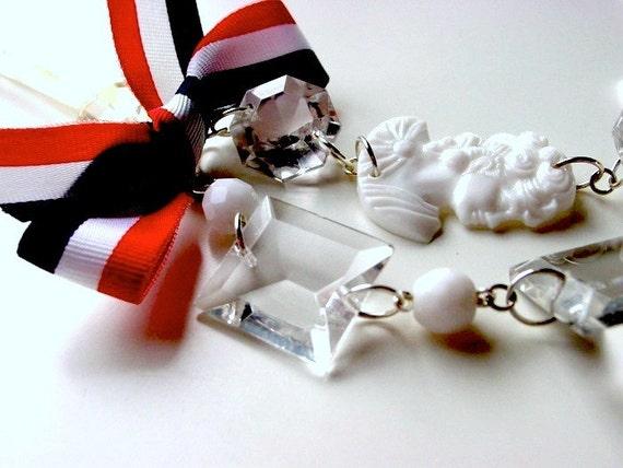 Revolutionary Sweetheart antoinette assemblage necklace. Ghosts of Versailles dagger antique crystal chandelier . ooak