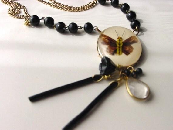Tea with Gorey gothic assemblage necklace . dark fairytale antique attic moth reliquary cameo specimen . Victorian goth romantic ooak
