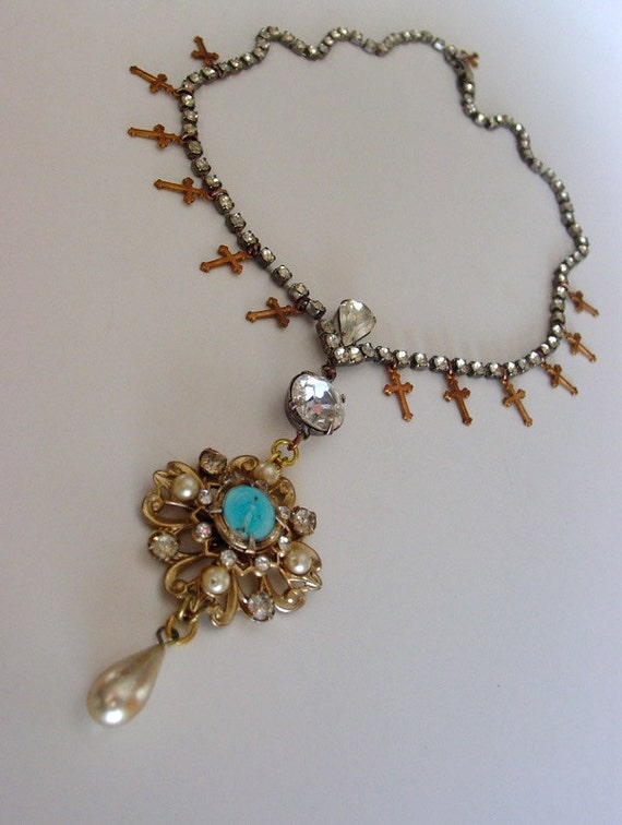 Precession multi-cross necklace . vintage miraculous medal rhinestone paste and pearl assemblage ooak