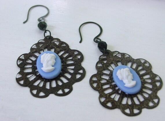 Celeste French blue cameo earrings . gothic Victorian dark glamor ladylike dramatic . big round vintage wedgwood blue lacy black dangles