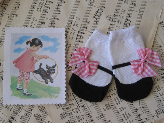 vintage baby mary jane socks hot pink gingham bows