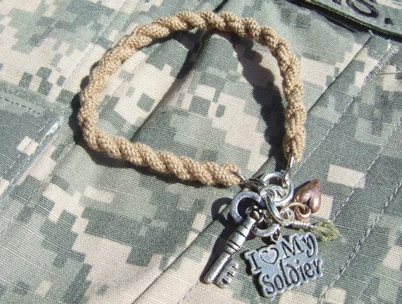 Desert Tan Boot Band Blouser Bracelet with charms - I Love My Soldier SGT05