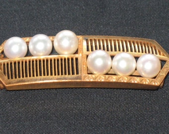 Vintage Genuine Japanese Pearl Obijime Belt Buckle on 18K Gold