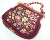 Vtg 70s Embroidered Tapestry Handbag