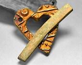 My Rusty Heart, A handmade bronze toggle