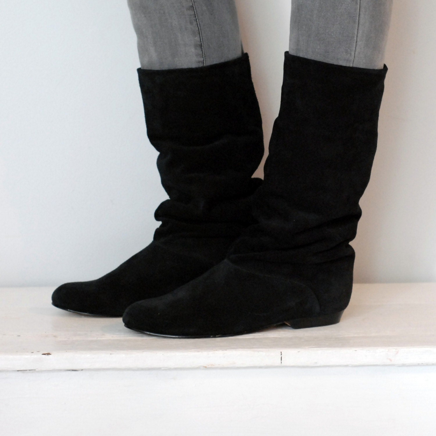 items similar to vintage black suede slouch boots size 10