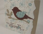 Set of 8 mini Bird on a Branch thank you cards - blue, brown, kraft and white