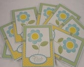 Set of 8 floral thank you notes in yellow, blue and green