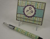 Sweet Cottage Chic - floral post it note gift set in purple, blue and green - with matching beaded pen