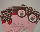 Set of 8 cupcake birthday cards in red, pink, brown and ivory