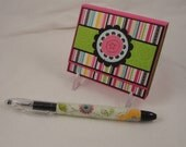 Swirly and Sweet - beaded pen and post it note holder gift set in fuchsia, black, yellow, aqua and green