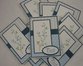 Cherry Blossom Blue - set of 10 floral thank you notes in white, blue and green