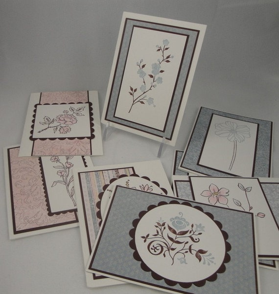 Set of 8 blank note cards - soft and feminine