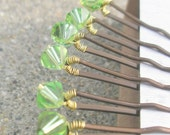Peridot Crystal Hair Pins - Light Green Swarovski (set of 6 bobby pins)