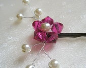 Pink Flower Hair Pin - Fuchsia Swarovski crystal / pearl wedding bobby